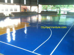 Hard Wearing PU surface coating for Indoor Basketball Court at Bukit Berapit, Bukit Mertajam, Penang, another view.