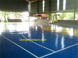 Hard Wearing PU surface coating for Indoor Basketball Court at Bukit Berapit, Bukit Mertajam, Penang.