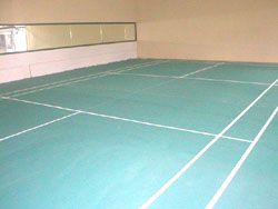 Badminton court with mirror
