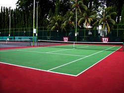 Resurfaced 1 tennis hard court using Plexipave Coating System, USA for Chinese Recreation Club, Penang
