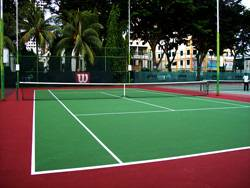 Chinese Recreation Club in Penang's 1 tennis hard court using Plexipave coating system