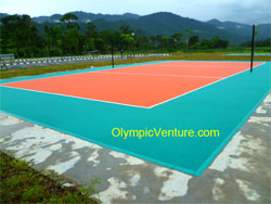 Outdoor interlocking Techtiles Volleyball court for a school in Perak, another view.