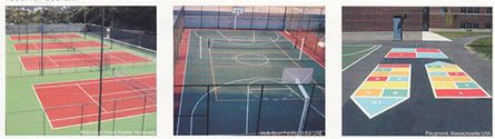 tennis courts median strips walkways recreation areas