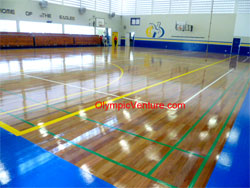 Another View of Pneumatic Hardwood Timber Floor with Rubberised Underlay System for Gymnasium at Dalat International School, Penang.