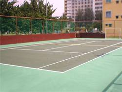 Futsal court lines and tennis court lines drawn in the same court.